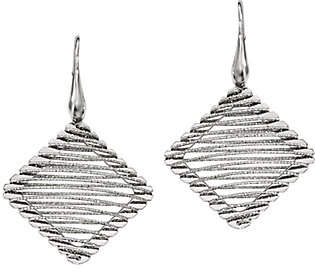 Silver Style Sterling Square Wire-Wrapped Earrings by Silver