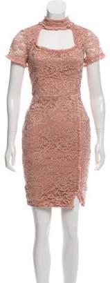 Alexis Cutout-Accented Lace Knee-Length Dress