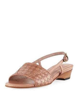 Sesto Meucci Ginger Woven Leather Slingback Sandal, Neutral $300 thestylecure.com