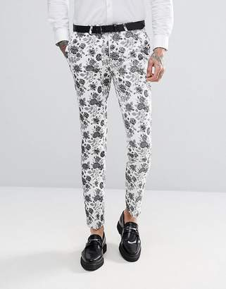 Noose & Monkey Super Skinny Wedding Suit Pants In Jacqaurd