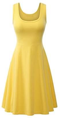 Jumojufol Women's Elegant Basic Round Neck Sleeveless Daily A Line Sundress M