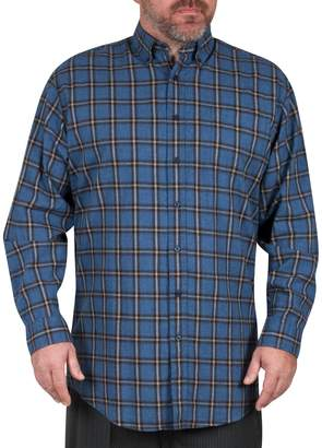 Haggar Big Tall Long-Sleeve Windowpane Check Flannel Shirt
