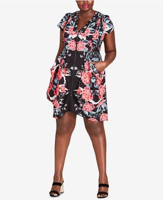 City Chic Trendy Plus-Size Draped Zip-Front Dress