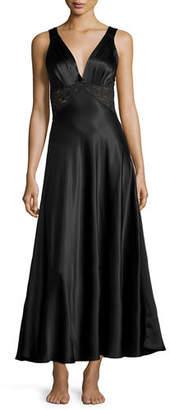 Christine Lingerie Bijoux Lace-Inset Silk Gown, Buttercream