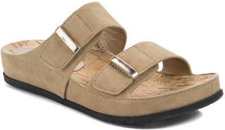 Women's Cherilyn Flat Sandal -Dark Brown Embossed Faux Leather $69 thestylecure.com