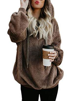 Actloe Women Casual Loose Fuzzy Hoodie Pullover Sweatshirt Cozy Outwear with Pockets
