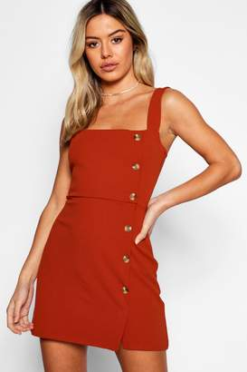 boohoo Petite Mock Horn Button Square Neck Shift Dress
