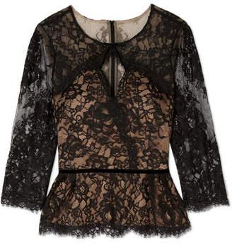 Marchesa Cutout Corded Lace Blouse - Black