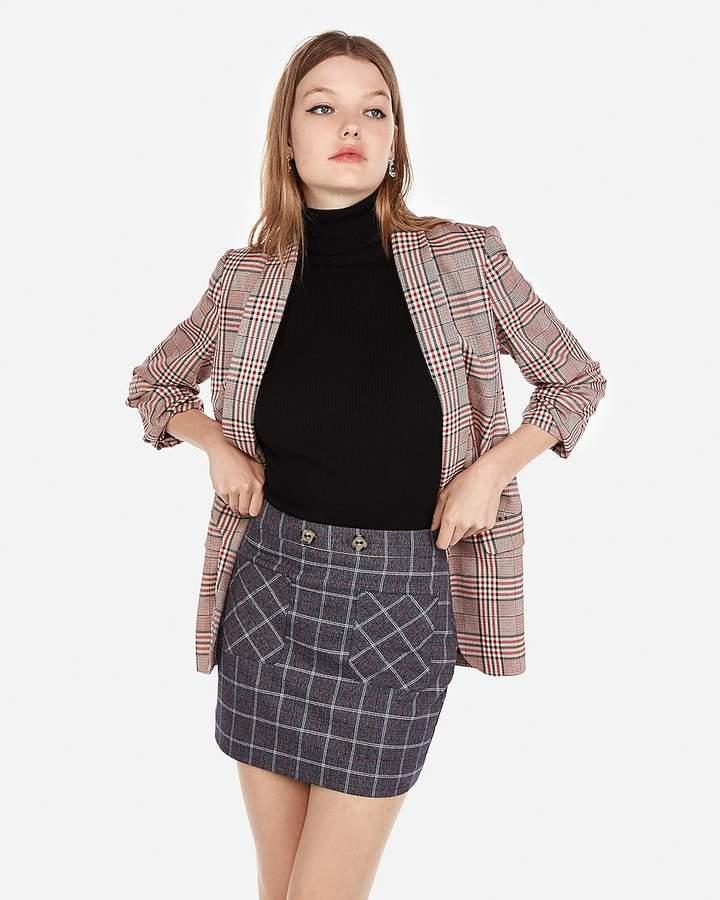 Express High Waisted Plaid Patch Pocket Mini Skirt