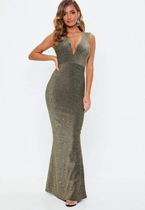 Bronze Metallic V Plunge Maxi Dress, Bronze