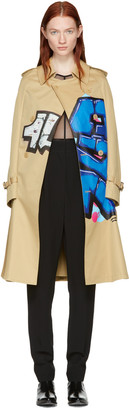 Junya Watanabe Beige Grafitti Cape Trench Coat $2,165 thestylecure.com