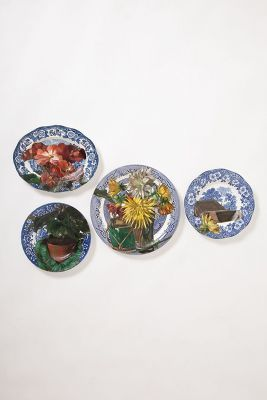 Anthropologie Little Owl Double Flower Pots Plate Collage