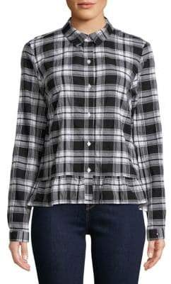 Tommy Hilfiger Plaid Peplum Stretch-Cotton Button-Down Shirt