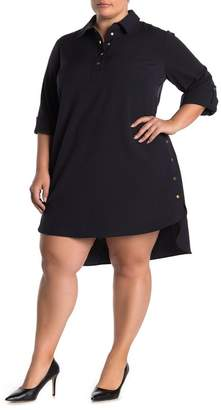 Sharagano 3/4 Sleeve Snap Button Shirt Dress (Plus Size)