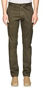 John Vizzone Men's Stretch-Cotton Twill Trousers-Olive