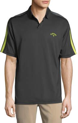 Perry Ellis Callaway Striped-Sleeve Stretch-Knit Polo Shirt