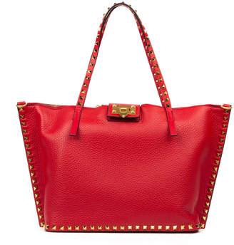 Valentino Garavani Rockstud Hype Red Leather Tote
