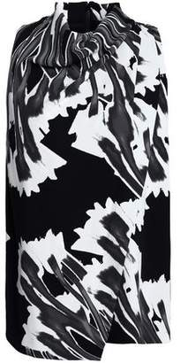 Halston Wrap-Effect Printed Crepe Top