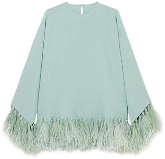 Valentino Feather-trimmed Silk-crepe Blouse - Light green