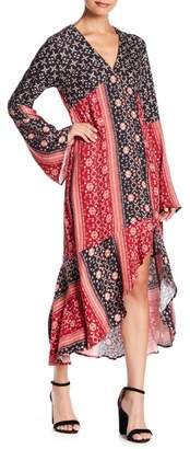 Somedays Lovin Some Days Lovin' Burn in Love Bell Sleeve Printed Hi-Lo Dress