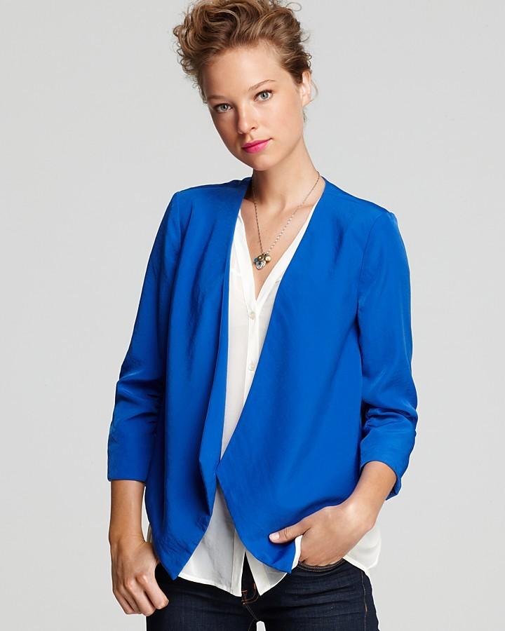 Aqua Blazer - Shablee Shirred Sleeve Cutaway