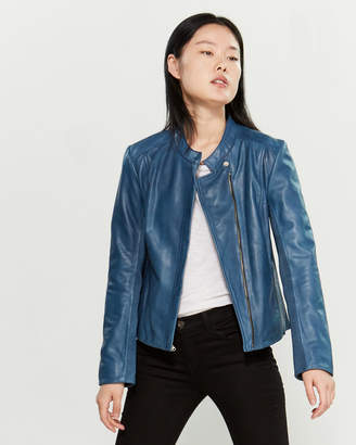 Cole Haan Indigo Asymmetrical Zip Leather Jacket