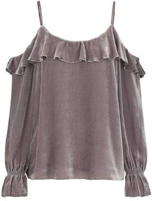 Joie Alyse Velvet Cold Shoulder Top in Vintage Silver