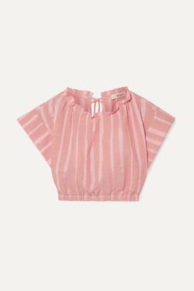 Lemlem Net Sustain Taytu Cropped Striped Cotton-blend Gauze Top - Pink