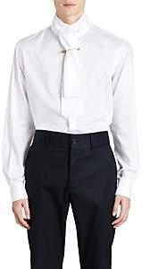 Burberry Men's Cotton Poplin Scarf-Neck Shirt - White
