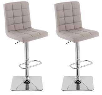 CorLiving Heavy Duty Gas Lift Adjustable Barstool in Tufted Fabric, set of 2