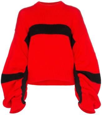 Calvin Klein Jeans Est. 1978 gathered sleeve contrast stripe knitted jumper