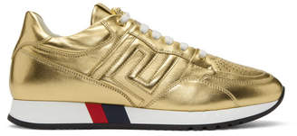 Versace Gold Greek Key Sneakers