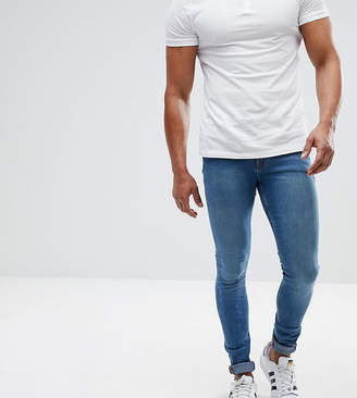 Asos DESIGN TALL Extreme Super Skinny Jeans In Mid Blue