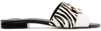 Chloé Leather And Zebra-print Calf Hair Slides - Zebra print