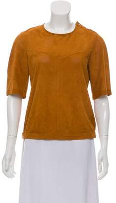 Isabel Marant Leather Short Sleeve Top