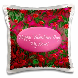 3dRose Hot Pink Valentines Design, Pillow Case, 16 by 16-inch
