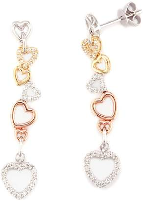 Effy Tri-Tone Gold & Diamond Drop Heart Earrings