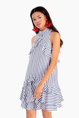 Nicole Miller Sailor Stripe Ruffle Dress