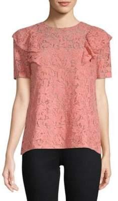 Miu Miu Short-Sleeve Ruffled Lace Blouse