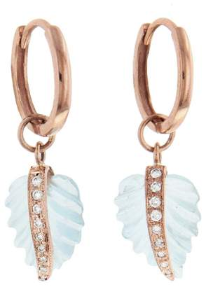 Jacquie Aiche Mini Aquamarine Leaf Hoop Earrings - Yellow Gold