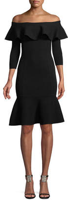 Michael Kors Rumba Off-the-Shoulder Ruffle Body-Con Knee-Length Dress