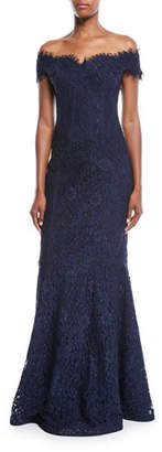 Rickie Freeman For Teri Jon Off-the-Shoulder Lace Trumpet Evening Gown w/ Godet Skirt
