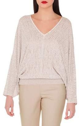Akris V-Neck Kimono-Sleeve Knit Pullover