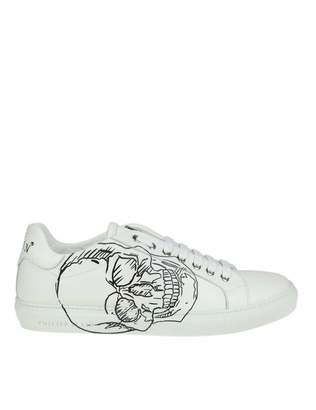 Philipp Plein Sneakers lo-top In White Leather With Skull Print