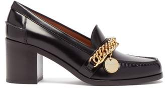 Givenchy Chain Strap Block Heel Leather Pumps - Womens - Black