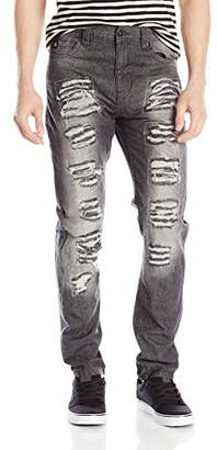 Southpole Men's Long Denim Pants with Multiple Horizontal Rips in Carrot Fit