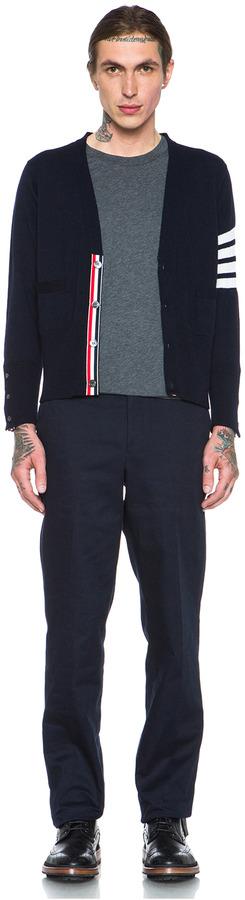 Thom Browne V Neck Merino Wool Cardigan in Navy