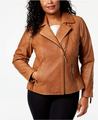 Charter Club Plus Size Leather Moto Jacket, Created for Macy's