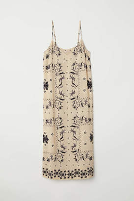 H&M V-neck Dress - Beige/patterned - Women