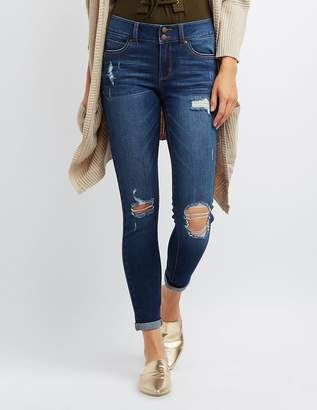 Charlotte Russe Destroyed Low-Rise Skinny Jeans